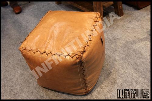 Vintage Leather Pouf