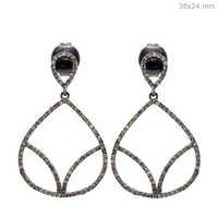 Diamond Pave Silver Earrings