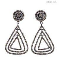 Silver Pave Diamond Earrings