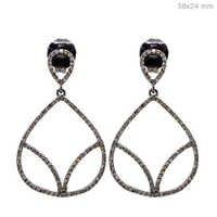 Pave Diamond Silver Dangle Earrings