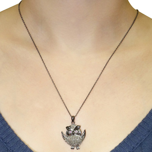 Pave Diamond Silver Owl Pendant