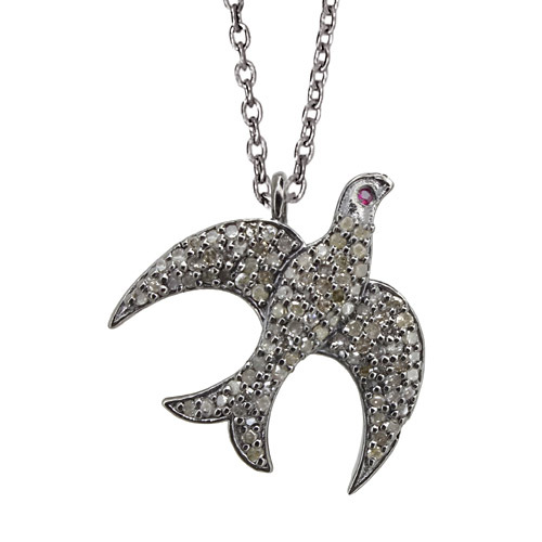 Pave Diamond Silver Bird Pendant