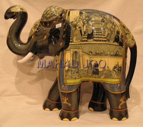 HAND CRAFT HAND PAINTED PAPER MACHIE ELEPHANT KASHMIR