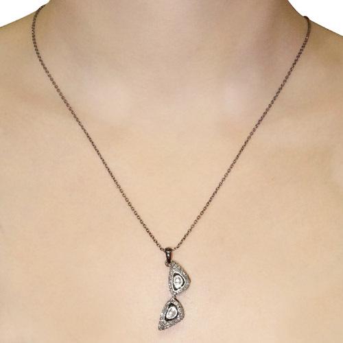 Eye Mask Style Rose Cut Diamond Pendant Necklace