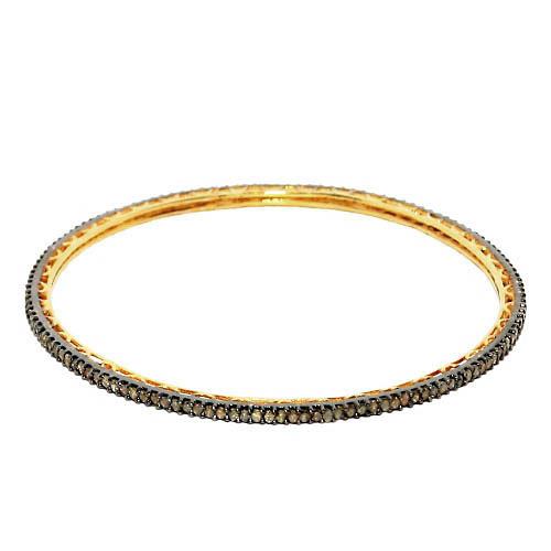 Natural Diamond Silver Sleek Bangle Jewelry