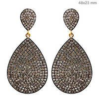 Pave Diamond Gold Earrings Drop Shape Jewelry