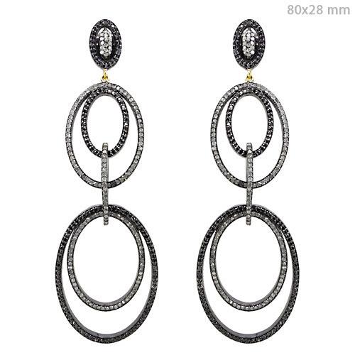 Pave Diamond Gold Dangle Earrings
