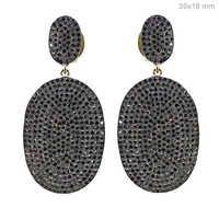 Diamond Pave Gold Dangle Earrings