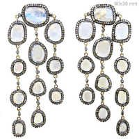 MoonStone Diamond Gold Chandelier Earrings