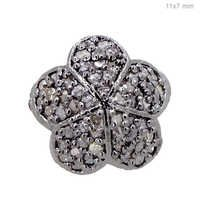 Flower Diamond Pave Silver Finding