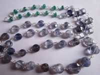 18 Inch Iolite faceted Coin & Green Onyx Faceted Rondell beaded metal chain