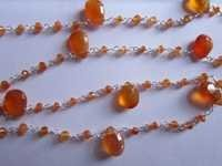18 Inch Carnelian faceted almond  &  Faceted Rondell beaded metal chain