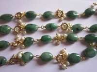 22 Inch Emerald Oval & Pearl Roundell beaded Chain