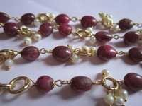 22 Inch  Ruby  Oval & Pearl Roundell beaded Chain