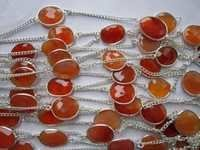 24 Inch Carnelian 14x16mm to 12x14mm  Connector  Silver polish chain