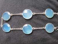 10 Inch Aqua Chalcedony 6 Pcs. 16-17mm  Connector Bracelet