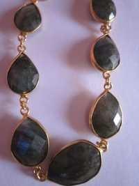 7 pcs.Labradorite gold vermiel connectors bracelet Approx 70cts.