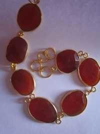 7 pcs. Red Chalcedony gold vermiel connectors bracelet Approx 49cts.