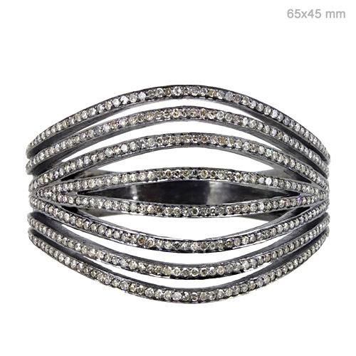 Sterling Silver Pave Diamond Bangle