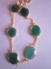 Green Onyx Gold Vermiel Connectors Bracelet
