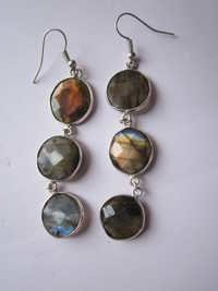 3 pcs. Labradorite Bezel Connector 14mm-16 mm earring Pair