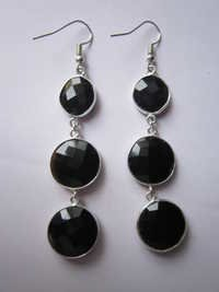 3 pcs. Black Onyx Bezel Connector 12mm -16mm earring Pair
