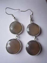 2 pcs.GREY MOONSTONE  Chalcedony Bezel Connector 16mm -17mm earring Pair