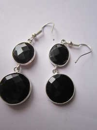 2 pcs.Black Onyx Bezel Connector 12mm x14mm earring Pair