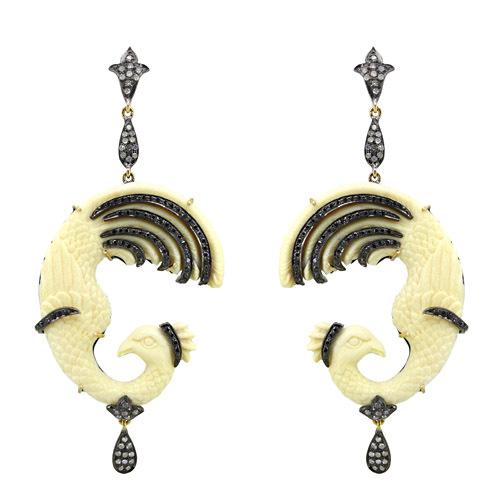 Designer Gemstone Carving Diamond Earrings