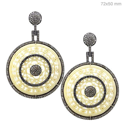 Pave Diamond Designer Gemstone Carving Earrings