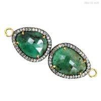 Emerald Gold Diamond Connector Jewelry