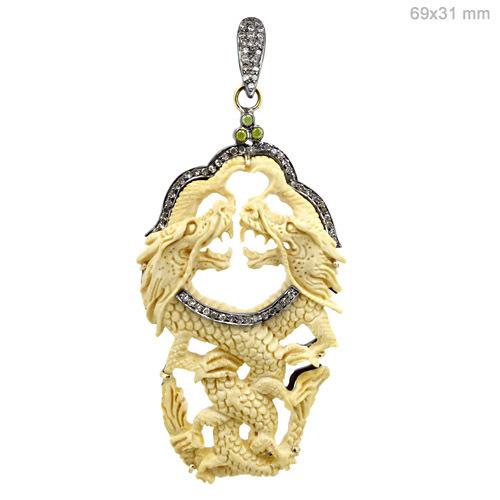 Gold Diamond Ivory Carving Pendant