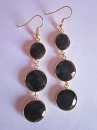Black Onyx Gold Vermiel Connectors Earrings Pair