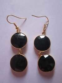 2pcs. Black onyx gold vermiel connectors Earringss pair Approx 38cts.