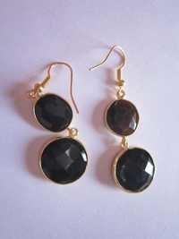 2pcs. Black onyx gold vermiel connectors Earringss pair Approx 30cts.