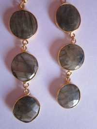 Labradorite Gold Vermiel Connectors Earringss Pair