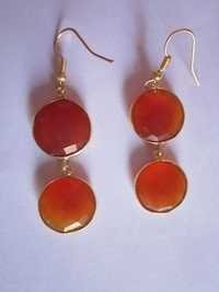 Red Chalcedony Gold Vermiel Connectors Earringss P