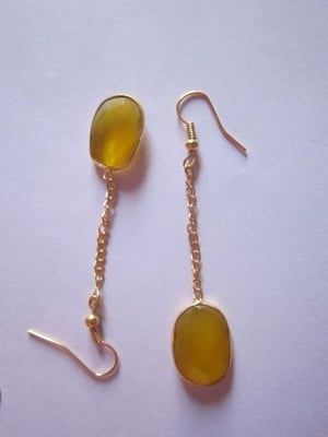 Yellow Chalcedony gold vermiel connectors Earrings pair