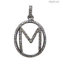 Initial Letter M Pendant Diamond Jewelry