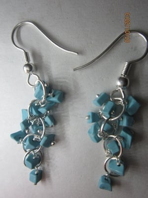 FANCY TURQUOISE CHIPS (5 PAIR) GEMSTONE BEADS SILVER POLISH EarringsS
