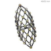 Diamond Filigree Silver Long Ring Jewelry