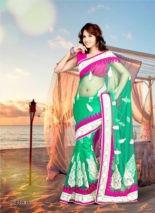 Light Green Net Saree