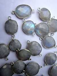 5 Pcs. labradorrite  Silver Polish Connectors