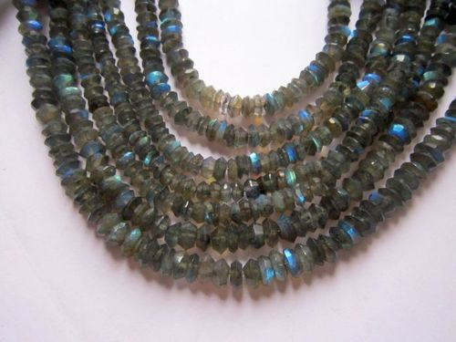 Labradorite Fancy Cutting Roundell 6mm-8mm 8 inch Beads Gemstone