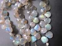 7 Inch Labradorite Faceted Briolettes 8Mm-9Mm