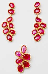 Designer Pendent Earrings Set With Ruby