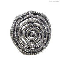 Pave Diamond Spiral Silver Ring