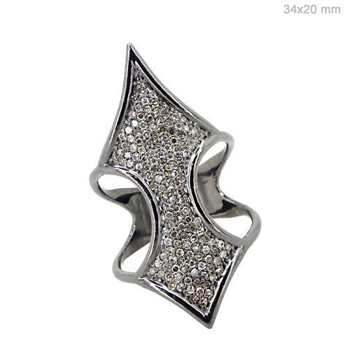 Diamond Pave Silver Ring Jewelry