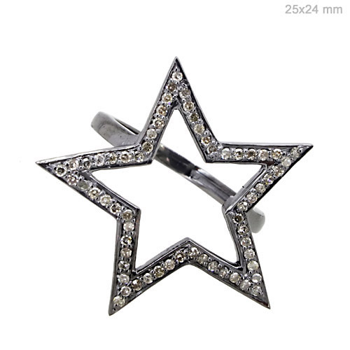 Diamond Silver Star Shape Ring