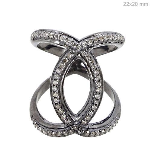 Pave Diamond Silver Ring Jewelry